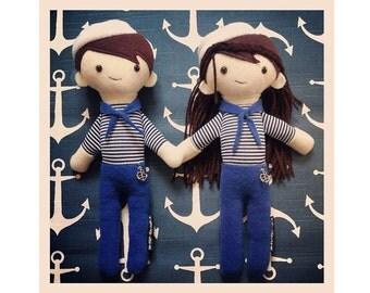 Rag doll, plush, sailor, sailor, Navy