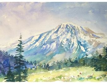 ORIGINAL Watercolor Painting, Watercolor mountains, Home Decor, paintings, Watercolor Paintings, Watercolor Painting, watercolor landscape,