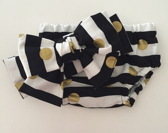 Diaper cover, Black and White Stripe w/ Gold Dots, Girl Diaper cover, bloomers, going home outfit, photo prop, photo