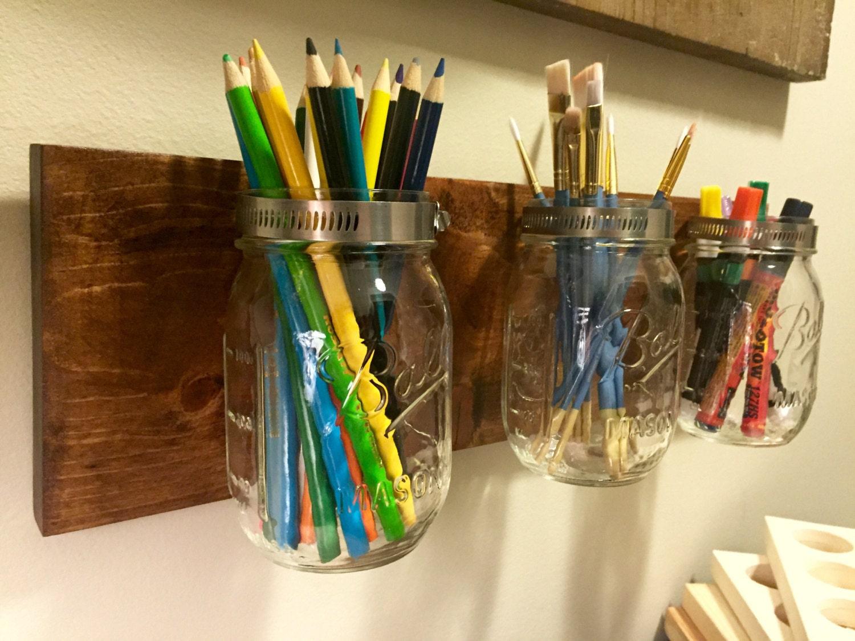 Mason jar storage pencil holder wall mounted craft storage for Mason jar craft storage