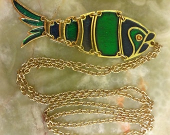 Vintage Articulated Fish Pendant