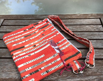 Red Newspaper Wristlet, Pouch , Wallet