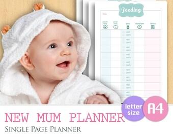 A4/LETTER - New Mum Planner PDF, Mom Baby Care Tracker Logsheet, Babysitter Nanny Feeding Schedule, A4 Instant Download Planner Organizer