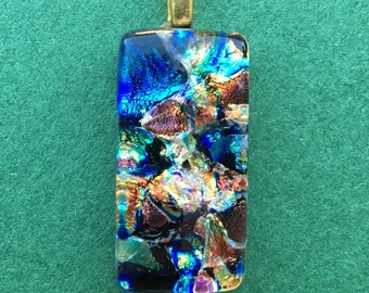 Rainbow dichroic glass necklace