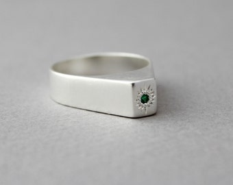 GREEN Emerald ring, silver sterling ring By Urban Candy