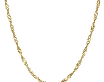 New 10 K Solid Gold Italy Singapore Chain  Necklace 1 mm