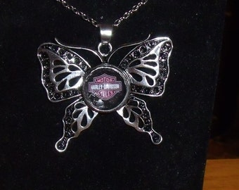 Butterfly / Snap Button Biker Style Necklace