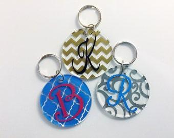 Initial Monogram Keychain - Personalized Keychain - Acrylic Monogram Keychain - Luggage Tag - Diaper Bag Tag