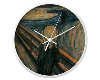 The Scream Wall Clock, Edvard Munch, El Grito, Expressionism, Famous Paint, Historic, Classic Clock, Artistic Design, Home Decor, Wood Clock