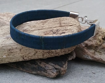 Cork bracelet made of blue cork cord.