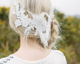 Wild Feather & Lace Headpiece, Embroidered Boho Headpiece, Bridal Headpiece, Headdress, Feather Hair Detail