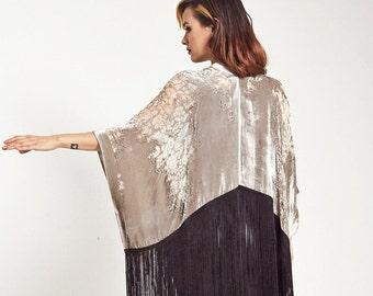 Velvet Fringe Kimono - Platinum Magic