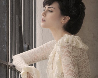 Victorian Ruffle Top in Cream Lace -Made to Measure