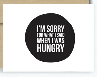 Funny Couples Card Sorry Hungry Card Cute Valentines Card For Boyfriend Card for Girl Friend Modern Funny Notecard I'm Sorry  Hangry B174