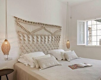 Macrame wall hanging/ bed header with thick natural cotton rope. Minimal, modern, unique, boho, big, large