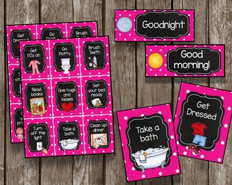 50% OFF SALE Routine Cards {Instant Download} Morning & Night Time - Chore Task Cards - Printable PDF - Pink