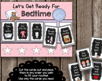 50% OFF SALE Morning & Bedtime Routine Chart - Pink - Cards - Printable - Toddler - Kids - Picture