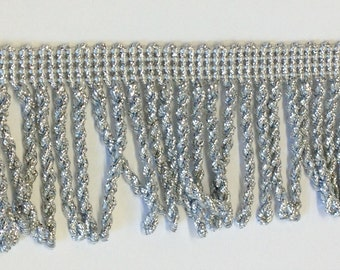 2 inch Silver Metallic Lurex Fringe, offering 1 lot of 10 yards. Made in the UK.