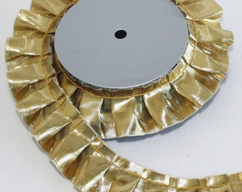 "1 1/2"" Gold Metallic Box Pleat Trim"