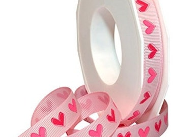 "5/8"" Morex Pink Tender Heart Grosgrain"
