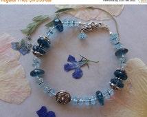 ON SALE London & Swiss Blue Topaz Faceted Gemstone Bead Bracelet ~ Sterling Silver ~ High End Jewelry ~ December Birthstone