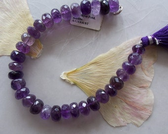 """Cape Amethyst Gemstone Faceted Rondelle Beads ~ 7"""" Strand ~ 8mm-9mm"""