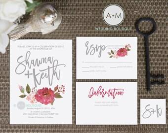 Wedding Invitation Set, Printable Invitations, Customized wedding Invitation,  Watercolour red / pink : SHAWNA