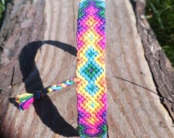 Rainbow friendship bracelet  bright neon pink blue yellow green violet gift girlfriend beach sea love