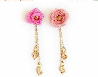 "Valentines Day SALE Earrings Studs ""Rose"" Asymmetric Earrings"