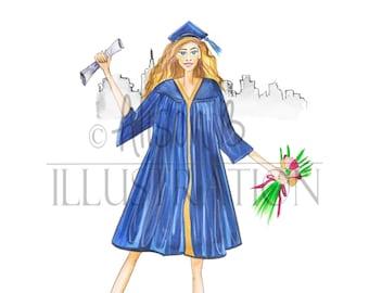 Graduation Fashion card illustration watercolor art