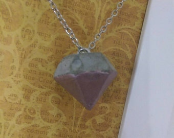 Pink painted diamond concrete pendant