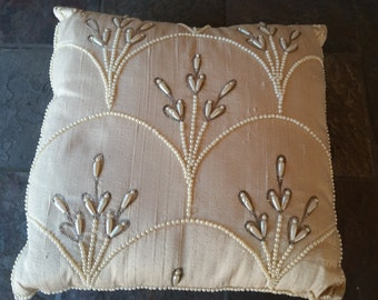 Vintage Beaded Pillow