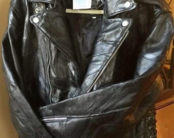 Buffalo Leather Biker Jacket - Sz Large