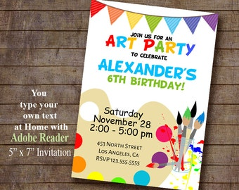 Art Party Invitation, Paint Birthday invite, Instant Download, Self Editable PDF file A420