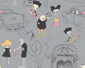 Zombie Love Gray by Emily Taylor for Riley Blake  Fabrics