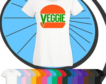 Ladies Veggie Burger Shirt - Vegan Vegetarian Diet Awesome Animal Lover Lifestyle Tshirt - Super Food No Meat BBQ T-shirt - Gift Present