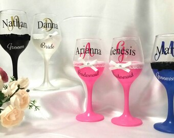 Personalised wedding glasses - bride, bridesmaid, etc. Toasting glasses. Wine glasses. Wedding favours.