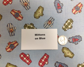 Mittens on Blue Fabric - 2 Yards