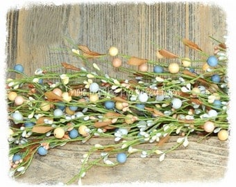 Berry Garland - Colorful Peach Yellow Blue, Pip Berry Garland, Spring Garland, Mixed Berry Garland, Spring Wreath