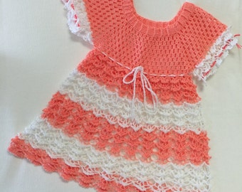 Salmon and white crocheted toddler dress