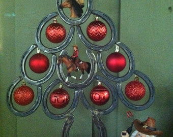 Horseshoe Christmas Tree with Metal Star Western Christmas Tree