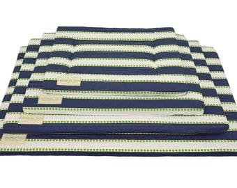 Navy, White, & Green Pet Pad | Fancy Pet Pad | Crate Mat | Crate Pad | Water Resistant Bottom | Portable Dog Bed | Small/Medium/Large/XL
