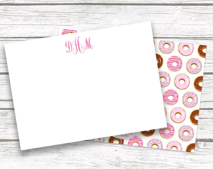 Doughnut Donut Monogram Stationery Note Cards, Pink Doughnut Print Notecards Matching Back, Bridesmaid Gift, Printed Printable Options