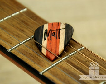 Custom Engraved Guitar Pick - Ebony Tri-Wood