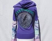 Upcycled Grateful Dead Zip Hoodie with Patchwork Bell Sleeves Stealie Deadhead Fesival Woodstock Tie Dye Hippie Retro Eco OOAK Garcia Music