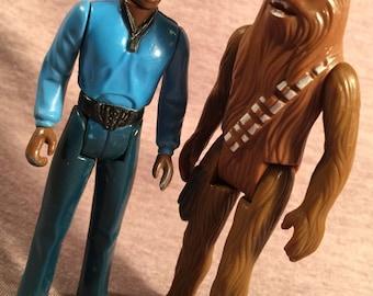 1980 1977 Star Wars Figure s (2) Lando Calrissian & Chewbacca Priority Mail