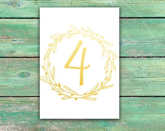 Gold table numbers Floral wreath wedding table number Romantic wedding table cards Custom table number Table Decoration Wedding table décor