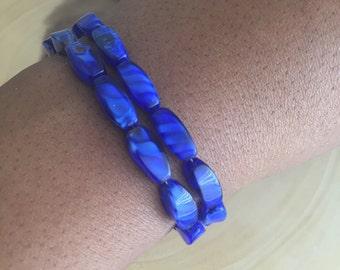 Blue Cats' Eye Glass Bracelet. Glass Bracelet. Blue Glass Bracelet. Cats' Eye Bracelet. Blue Glass Jewelry. Cats' Eye Jewelry. Glass Beads.