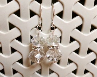 Faceted Glass Crystal Earrings