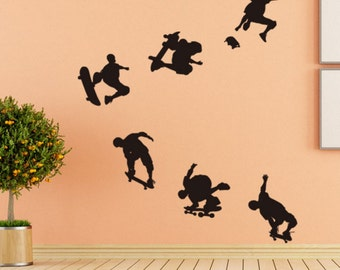 skateboard boy wall decal, skating action decal, sports decal